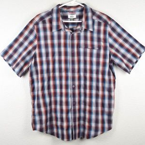REI Mens L Plaid Check Shirt Short Sleeve